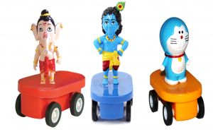 Figurine Fun Wheels Bal Krishna,ganesh And Doraemon By Buddyz