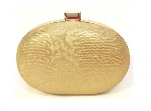 Wallets, Purses - Gold Toned Oval Shaped Party Clutch with Sling Strap by Boga - (Code - Clutch-PPC18)