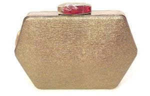 Copper Toned Hexagon Shaped Clutch With Sling Strap By Boga - (code - Clutch-ppc9)