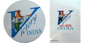 Combo - Victory India Badge And Victory India White Sticker