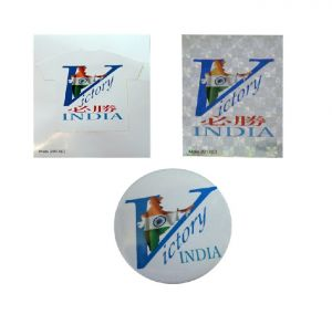 Combo - Victory India Badge And Victory India Silver Sticker Victory India White Sticker