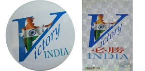 Combo - Victory India Badge And Victory India Silver Sticker