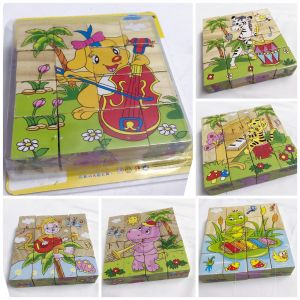 16 Piece Colorful Wooden Block Picture Puzzle For Toddlers And Small Children (musical Instrumentstheme) (code - Su 003)