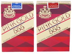 Parksons Cartamundi Plastic Coated Paper Playing Card (pink Gold 555) For Fun / Game / Party - Pack Of 2(code -p-pg-555-01)