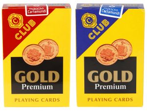 Parksons Cartamundi Plastic Coated Paper Playing Card (c Club Gold Premium) For Fun/game/ Party - Pack Of 2 (code -p-ccgp-01)