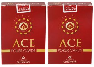 Parksons Cartamundi Ace Poker - Pure Plastic Playing Card For Fun / Game / Party - Pack Of 2(code -p-ap-02)