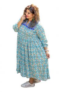 The Plum Tree Cool Blue Charlotte Dress Casual Wear (code - Ptcd002)