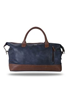 Blue And Brown Leatherette Duffel Bag By Strutt (code -smd513)