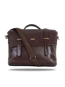 "13"" Brown Front Flap Laptop Bag By Strutt (code -sml154)"