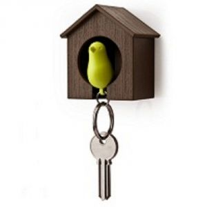 Home Decoratives - Daffodils Bird Nest Bird Keyring Brown Green Key Chain (Brown, Green)