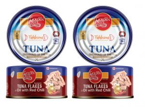 Canned Non Veg Food, Beverages - Golden Prize Tuna Sandwich Flakes in Oil with Red Chili 185Gms Each - Pack of 2 Units (Code - 8855301210465-1)