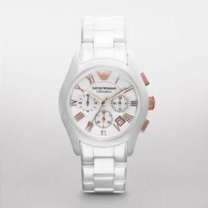 Emporio Armani Women's Ar1416 Ceramic White Ceramic Chronograph Dial Watch