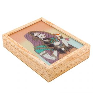 Halowishes Gemstone Painted Wooden Jewelry Box Handicraft Gift -287