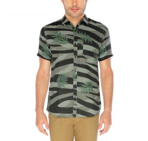 Nick&jess Mens Deep Green Printed Short Sleeve Linen Shirt