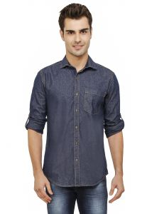 Nick&jess Mens Blue Indigo Denim Slim Fit Shirt
