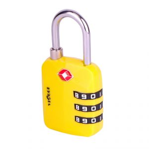 Travel locks - VIAGGI 3 Dial Travel Sentry Approved Security Luggage Resettable Combination Number Padlock - Yellow