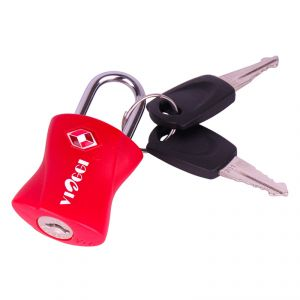 Travel locks - VIAGGI Travel Sentry Approved Metal Security Luggage Padlock with Key- Red