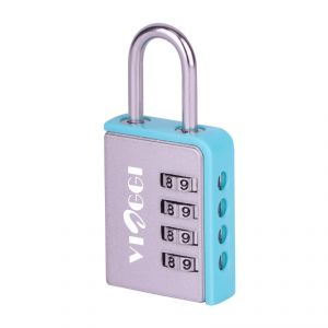 Travel locks - VIAGGI 4 Dial Luggage Resettable Combination Number Padlock  Silver Blue