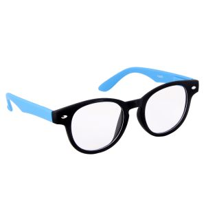 Petrol Blue Round Sunglasses(clear)
