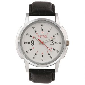 Synthetic strap - Petrol Men's Round shaped White Dial Watch