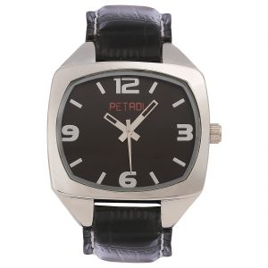 Synthetic strap - Petrol Men's Square Shaped Black Dial Watch