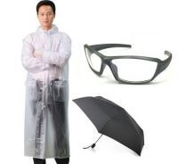 Combo Of Transparent Raincoat, Biker Sunglass,2 Fold Umbrella