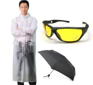 Combo Of Transparent Raincoat, Yellow Biker Sunglass & 2 Fold Umbrella