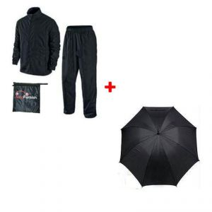 Autofurnish Complete Rain Suit With Carry Bag 3 Fold Umbrella
