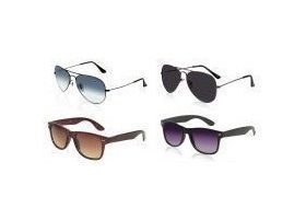 Sunglasses, Spectacles (Mens') - Buy 2 Get 2 Sunglasses Free - Black/blue Aviators, Black/brown Wayfarers