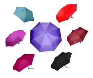 Set Of 3 Classic 3 Fold Solid Color Ladies Umbrella