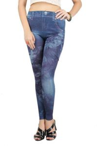 Avsar,Unimod,Soie,Shonaya,Jpearls,Pick Pocket,Sinina,N gal Leggings - Blue Polyester, Spandex Beautiful Flower And Girl Print Jeans Imitated Leggings .(free Size Fit - Xs-m) (code - Ng79417)