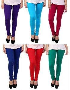 Stylobby Set Of 6 Cotton Lycra Legging (pl.bl.m.r.sb.g.6hema)