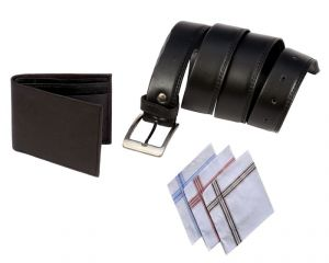 Men Black Formal Belt Wallet And Handchief Pack Of 3 Combo