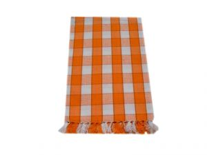 Tidy Orange With White Checked Cotton Bath Towel - Pack Of 1