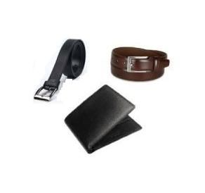 Combo Of Italian Leather Wallet And 2 Leather Belts