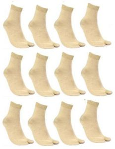 12 Pairs Ladies Skin Colour Crew Length Socks For Women