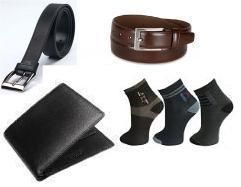 Combo Of 2 Leatherite Belts,leather Wallet And Set Of 3 Anklelength Socks