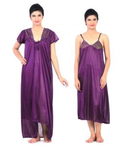 2 Piece Net Satin Stylish Bridal Nighty Nightwear Set