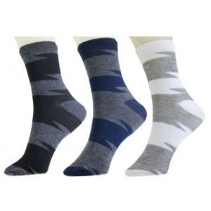 3 Pair Men Cotton Striped Ankle Length Socks
