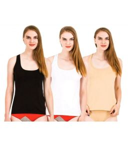 Set Of 3 Lycra Cotton Tanks Inner Sando Vests For Ladies(code - 3 Sando)