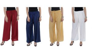 Set Of 4 Solid Coloured Women Palazzo Pants Wear For Ladies