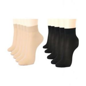 Girls Beige Black Nylon Stockings Socks To Keep Her Feet Dust Free Soft N Comfortable (combo Pack Of 5 5 Pair)