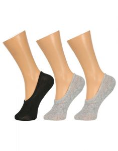 Grabberry Solid Black And Grey Color Cotton 3 Pairs Pack No Show Socks For Men