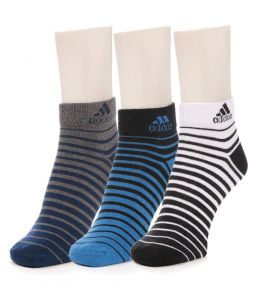 Adidas Multicolor Cotton Socks For Men - Pack Of 3