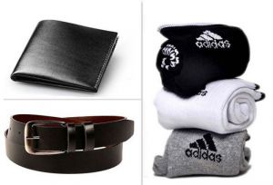 Belts (Men's) - Jack Klein Combo Of Black Leather Belt And Wallet With Socks