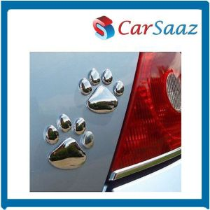 3d Silver Footprints Chrome Paw Emblem Car Sticker(2pcs)
