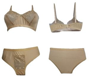 Skin Coloured Bra Panty Set, With Net Design (code- Ashquie Skin)