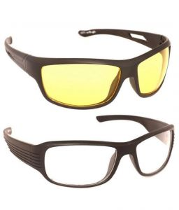 Vast Special Night And Day Driving Yellow Plus White Acetate Medium Sunglasses Combo Of 2
