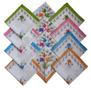 Ladies Printed Handkerchief Set Of 12- Assorted Colours