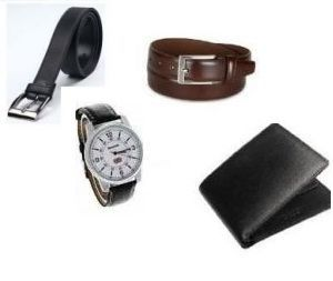 Mns Combo Of Leather Wallet And 2 Leatherite Belts With Watch